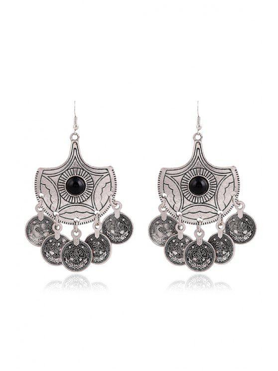 Na moda Beads brincos rodada Para Mulheres - Prata