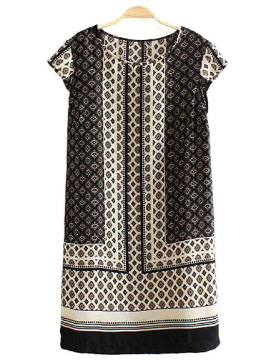 buy Vintage Style Argyle Print Straight Dress - KHAKI S