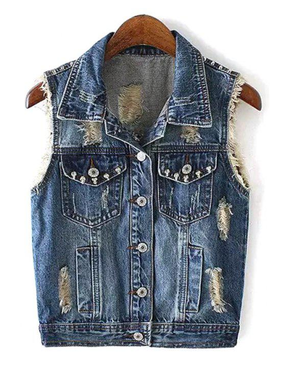 online Rivet Embellished Single-Breasted Denim Waistcoat - BLUE S