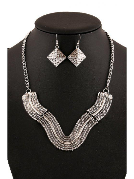 hot V Shape Geometric Necklace And Earrings - SILVER