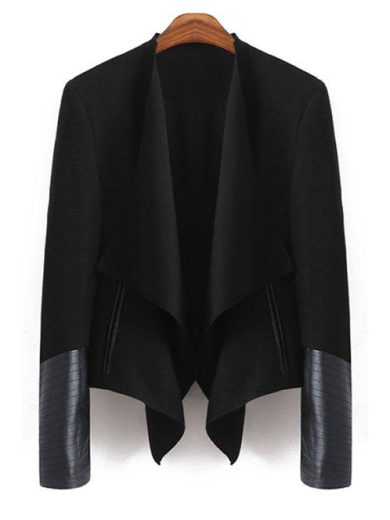 lady PU Leather Spliced Long Sleeve Blazer - BLACK S
