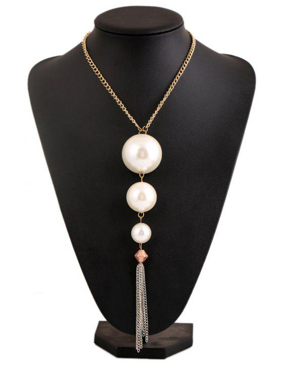 latest Faux Pearl Tassel Necklace - WHITE
