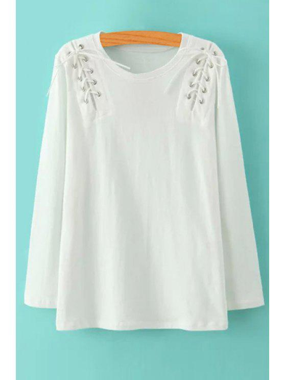 outfits Lace-Up Scoop Neck Long Sleeve T-Shirt - WHITE S