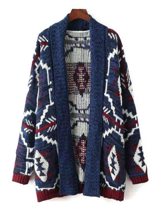 sale Tribal Pattern Long Sleeve Cardigan - AS THE PICTURE ONE SIZE(FIT SIZE XS TO M)
