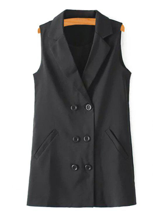 new Pure Color Lapel Double-Breasted Waistcoat - BLACK S