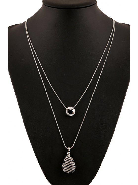 fancy Rhinestone Inlaid Color Glazed Drop Necklace - BLACK