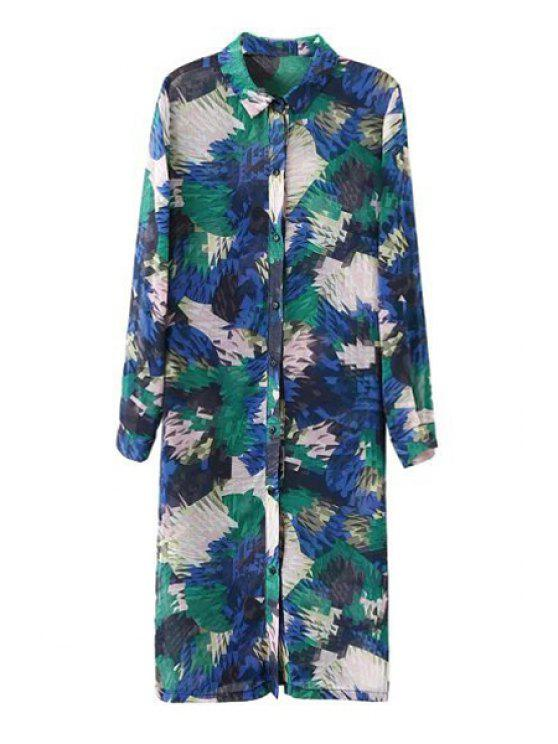trendy Print Side Slit Turn-Down Collar Maxi Shirt - AS THE PICTURE S