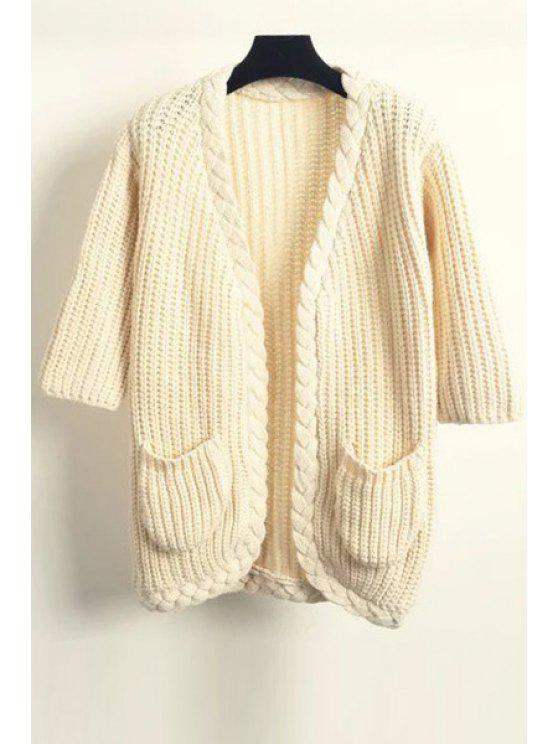 ladies Plait Edging Solid Color 3/4 Sleeve Cardigan - KHAKI ONE SIZE(FIT SIZE XS TO M)