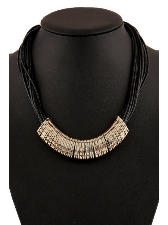sale Faux Leather Chain Metal Pendant Necklace - GOLDEN