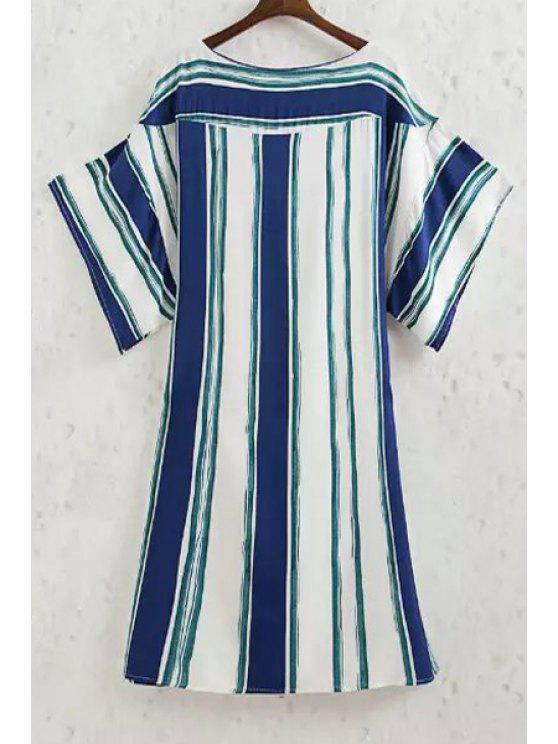 lady Striped Boat Neck Half Sleeve Dress - BLUE AND WHITE S