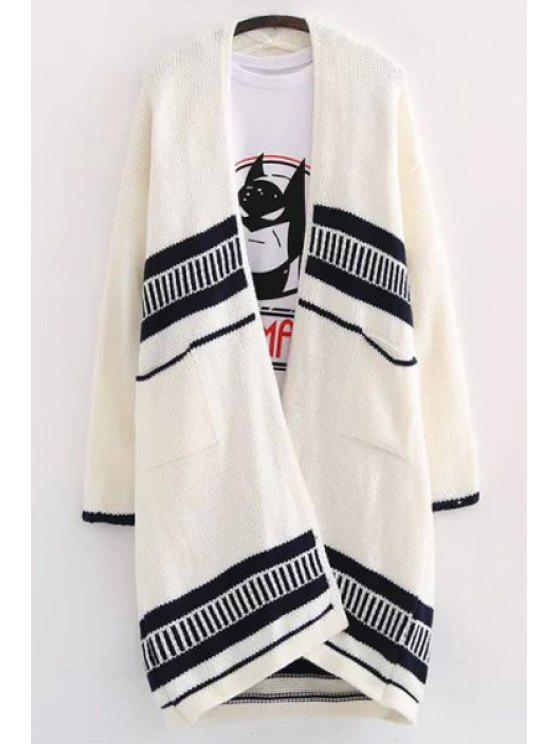 new Striped Pocket Long Sleeve Cardigan - WHITE ONE SIZE(FIT SIZE XS TO M)