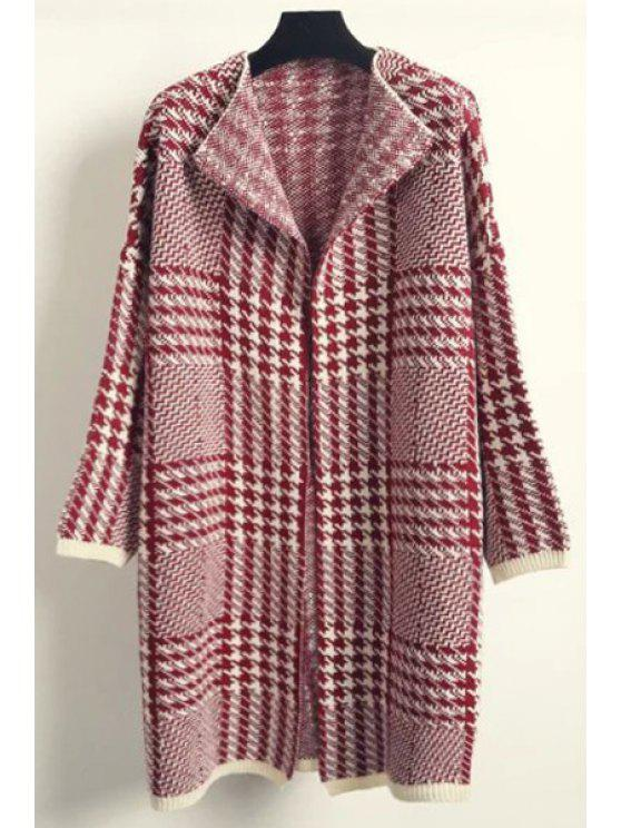 shop Turn-Down Collar Houndstooth Pattern Cardigan - RED ONE SIZE(FIT SIZE XS TO M)