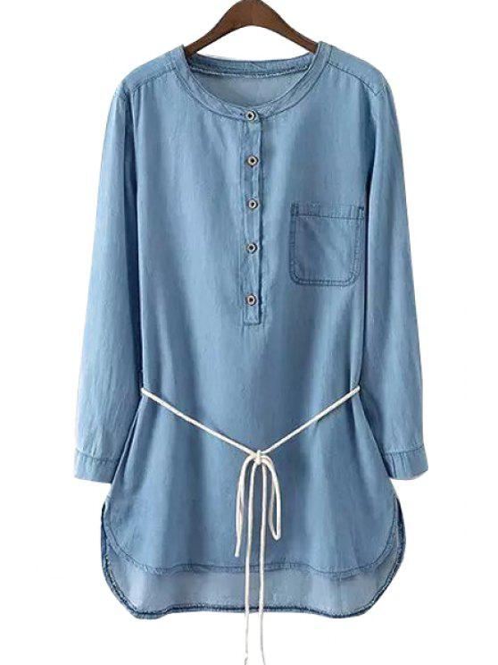 outfits Long Sleeve Light Blue Denim Dress - LIGHT BLUE S