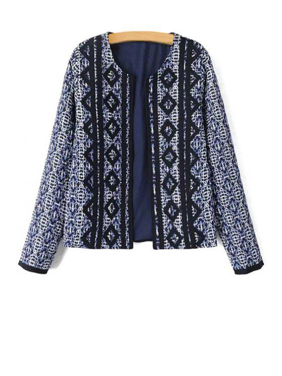 online Argyle Pattern Printed Long Sleeve Coat - PURPLISH BLUE S