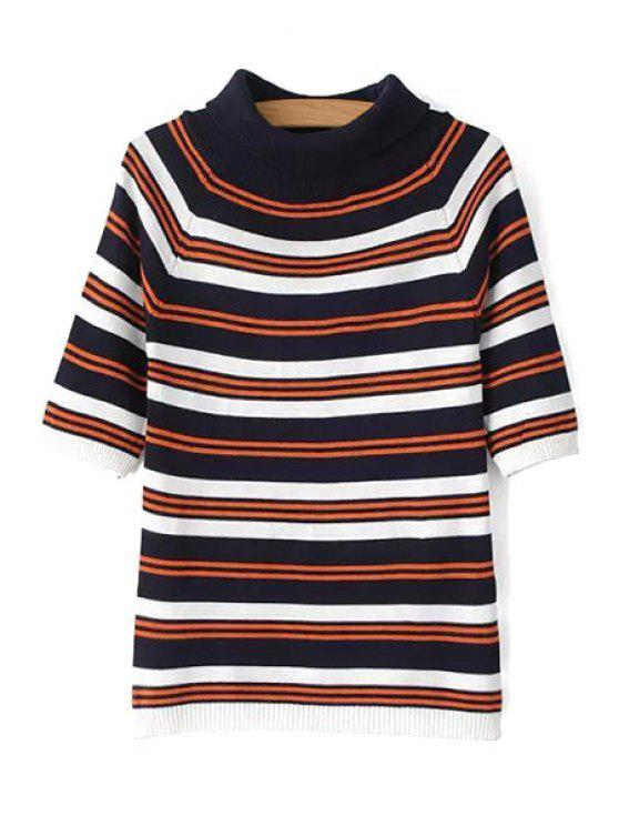 fashion Turtle Neck Striped Half Sleeve Sweater - COLORMIX ONE SIZE(FIT SIZE XS TO M)