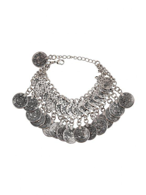 affordable Coin Pendant Bracelet - SILVER