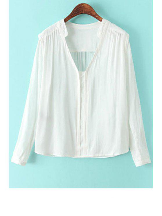 new Solid Color Loose-Fitting Long Sleeve Shirt - WHITE S