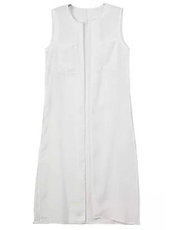 fancy Solid Color Sleeveless Waistcoat - WHITE S