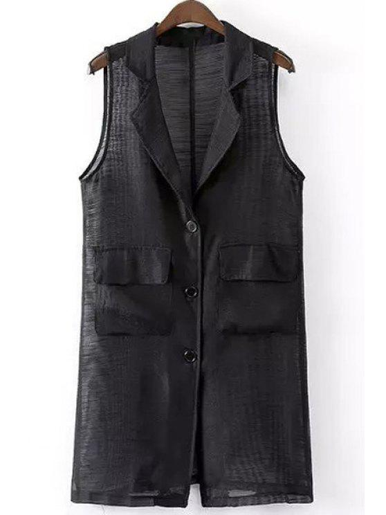 new Lapel See-Through Solid Color Sleeveless Waistcoat - BLACK S