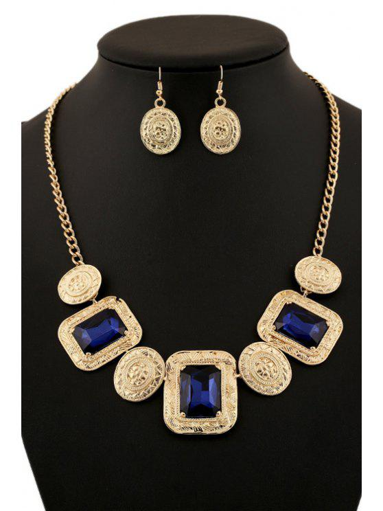 ladies Faux Gem Geometric Necklace And Earrings - GOLDEN