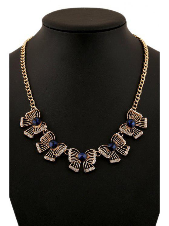 best Faux Gem Bow Necklace - GOLDEN