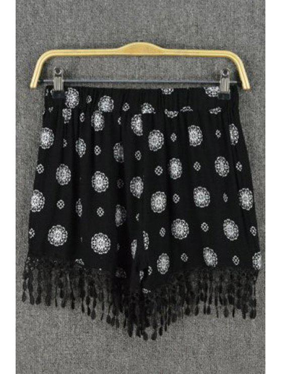 new Floral Print Tassels Spliced Black Shorts - BLACK ONE SIZE(FIT SIZE XS TO M)