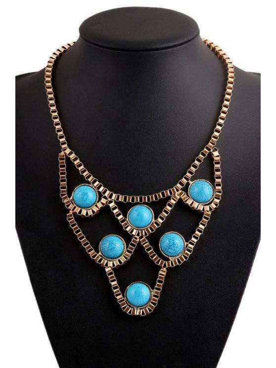 hot Turquoise Hollow Necklace - GOLDEN