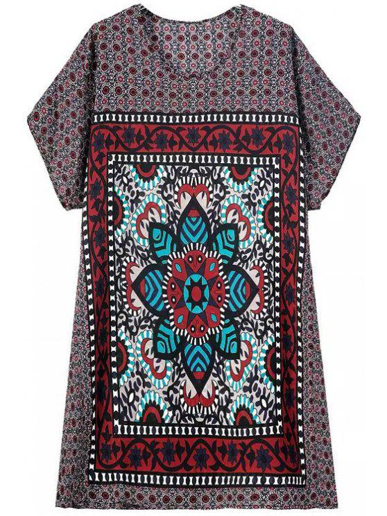 fashion Printed Color Block Short Sleeve Dress - COLORMIX S