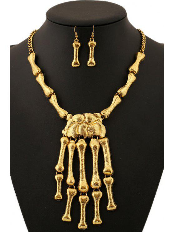 shops Hand Skeleton Pendant Necklace And Earrings - GOLDEN