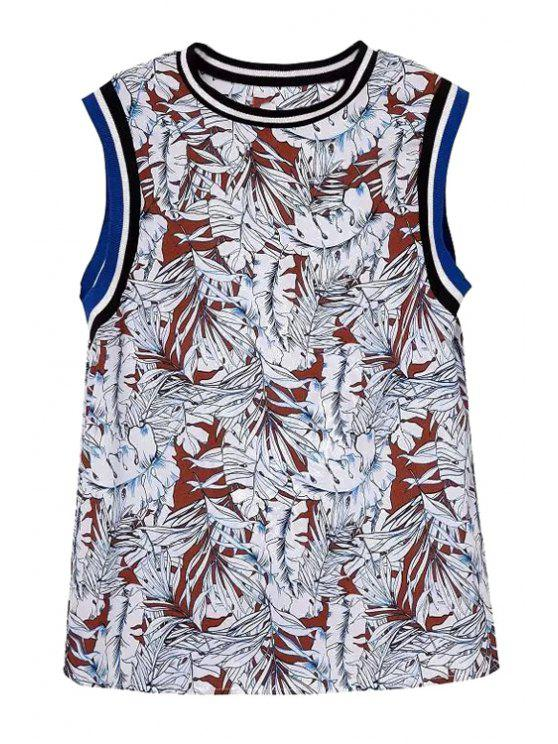 latest Full Leaf Print Round Neck Tank Top - RED WITH WHITE S