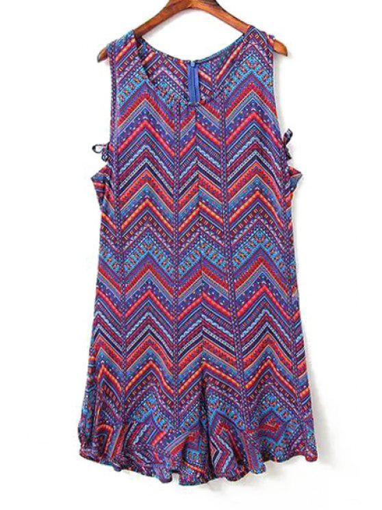new V Neck Zig Zag Print Sleeveless Dress - BLUE S