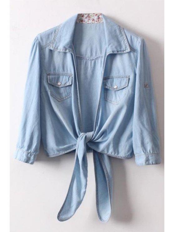 womens Turn-Down Collar Half Sleeve Coat - LIGHT BLUE ONE SIZE(FIT SIZE XS TO M)