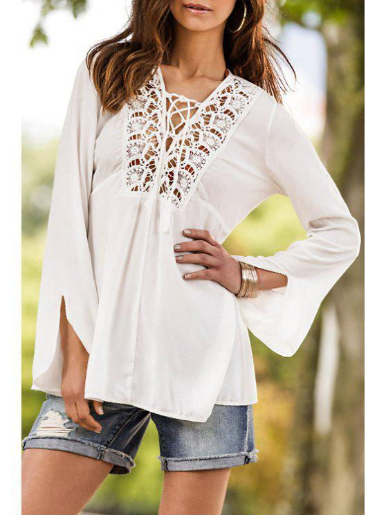 sale Tie-Up Openwork Long Sleeve Blouse - WHITE S