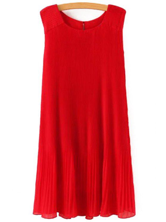 fancy Pleated Solid Color Sleeveless Dress - RED ONE SIZE(FIT SIZE XS TO M)