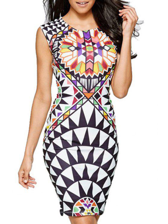women Geometric Print Pactet Buttocks Club Dress - WHITE S