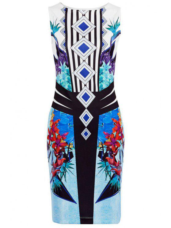 hot Floral Print Stripes Bodycon Club Dress - BLUE XL