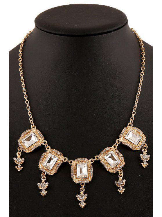 fancy Rhinestone Square Pendant Necklace - GOLDEN