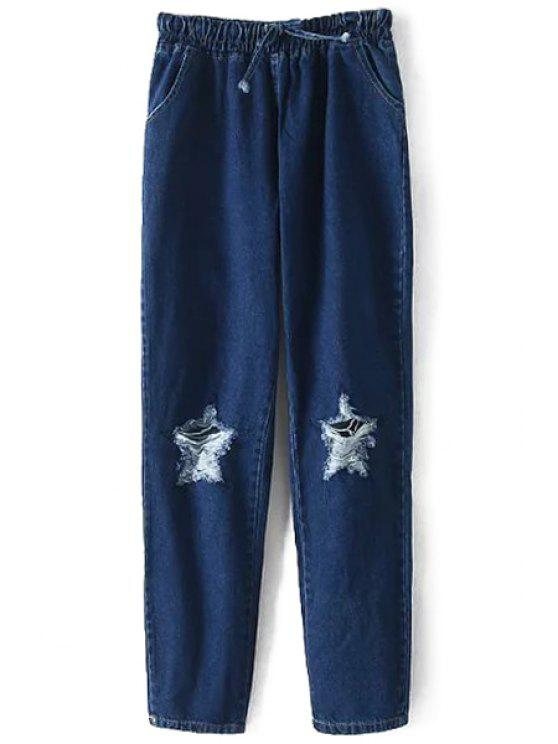 lady Star Pattern Hole Tie-Up Jeans - DEEP BLUE ONE SIZE(FIT SIZE XS TO M)