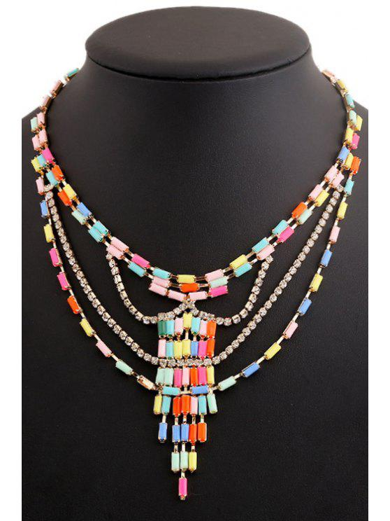 Colored Beads Rhinestone Collar - COLORIDO