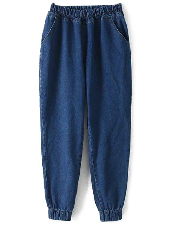 hot Elastic Waist Bleach Wash Jeans - DEEP BLUE ONE SIZE(FIT SIZE XS TO M)