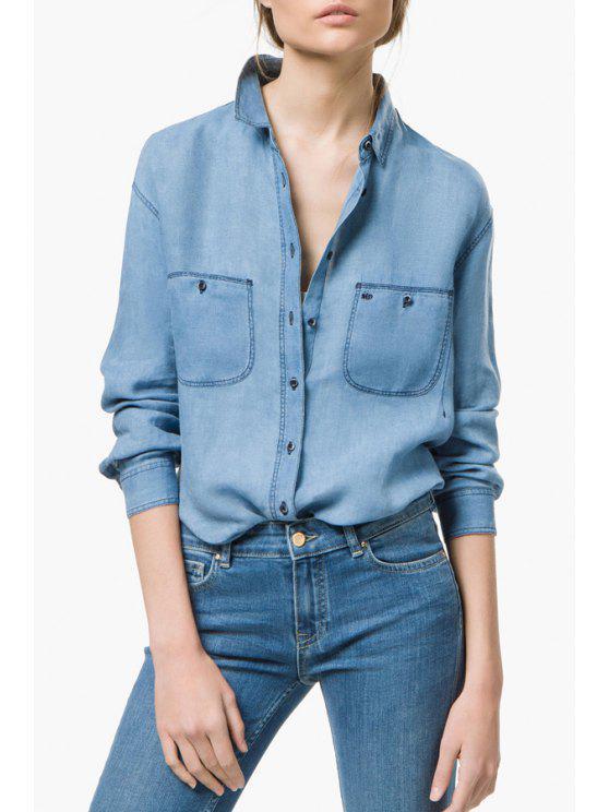 womens Pockets Bleach Wash Denim Long Sleeve Shirt - LIGHT BLUE S