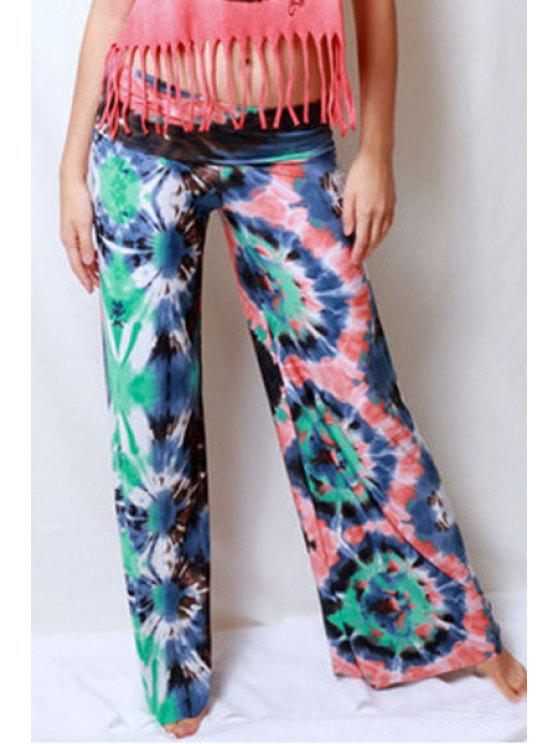 online Printed Wide Leg Colored Exumas Pants - RED S