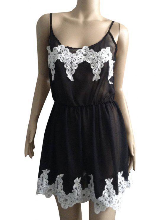 outfit Spaghetti Strap White Lace Splicing Sleeveless Dress - BLACK M