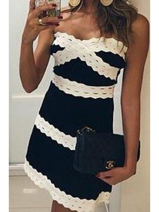 trendy Strapless Color Block Stripe Sleeveless Dress - BLACK L