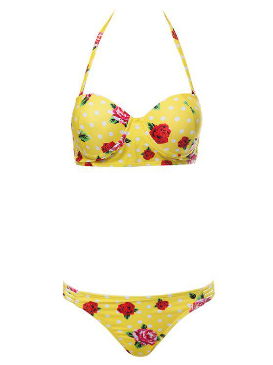 women's Floral Print Underwire Bathing Suit - YELLOW L