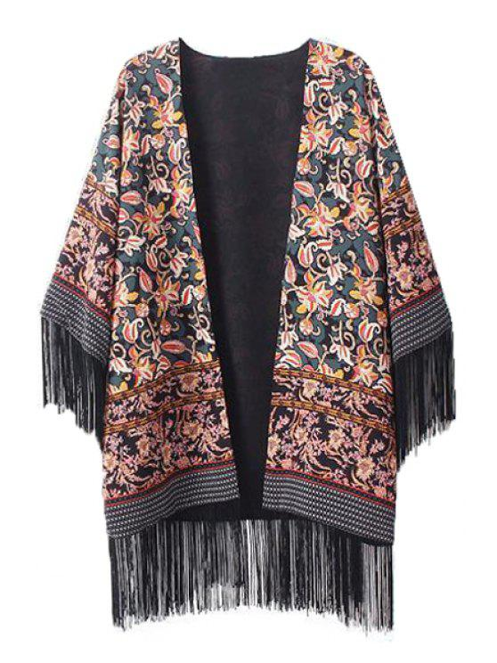buy Floral Print Fringe Splicing 3/4 Sleeve Kimono - COLORMIX M