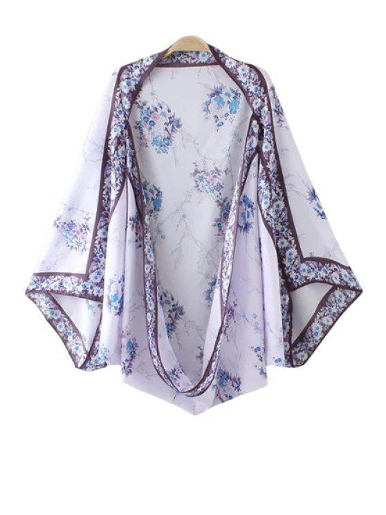 online Vintage Floral Print Kimono Blouse - WHITE ONE SIZE(FIT SIZE XS TO M)