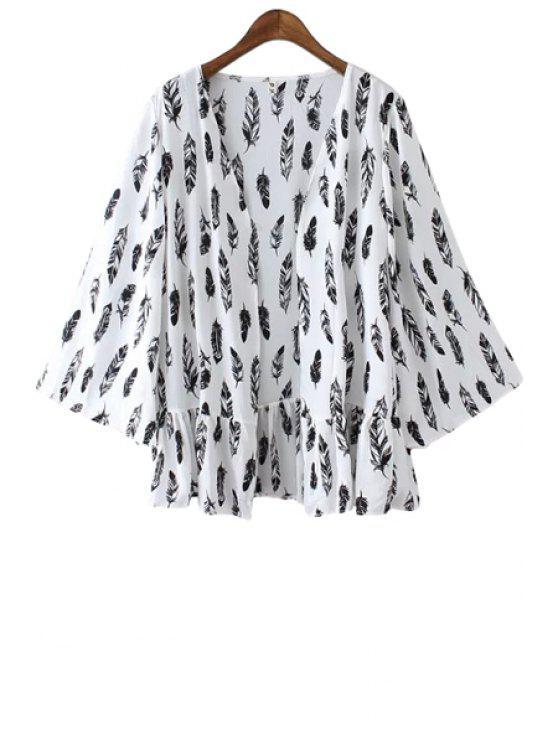 hot Full Feather Print Kimono Blouse - WHITE ONE SIZE(FIT SIZE XS TO M)
