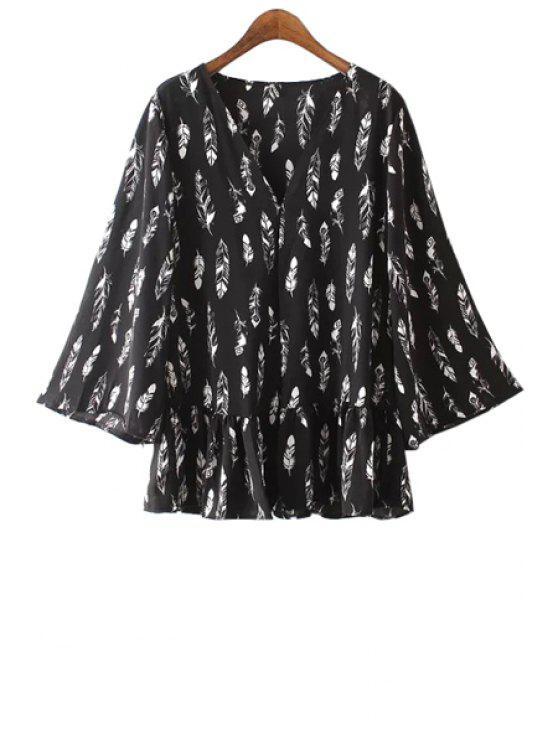 new Full Feather Print Kimono Blouse - BLACK ONE SIZE(FIT SIZE XS TO M)