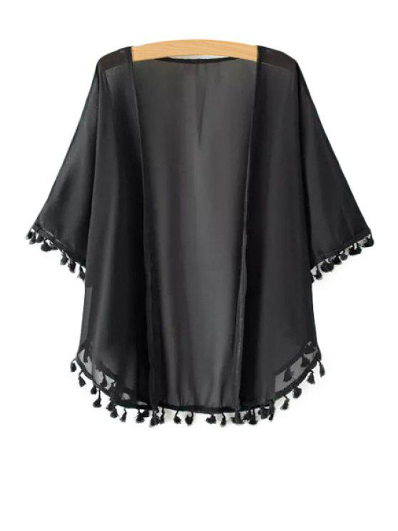 best Solid Color Tassle Splicing Half Sleeve Kimono - BLACK ONE SIZE(FIT SIZE XS TO M)
